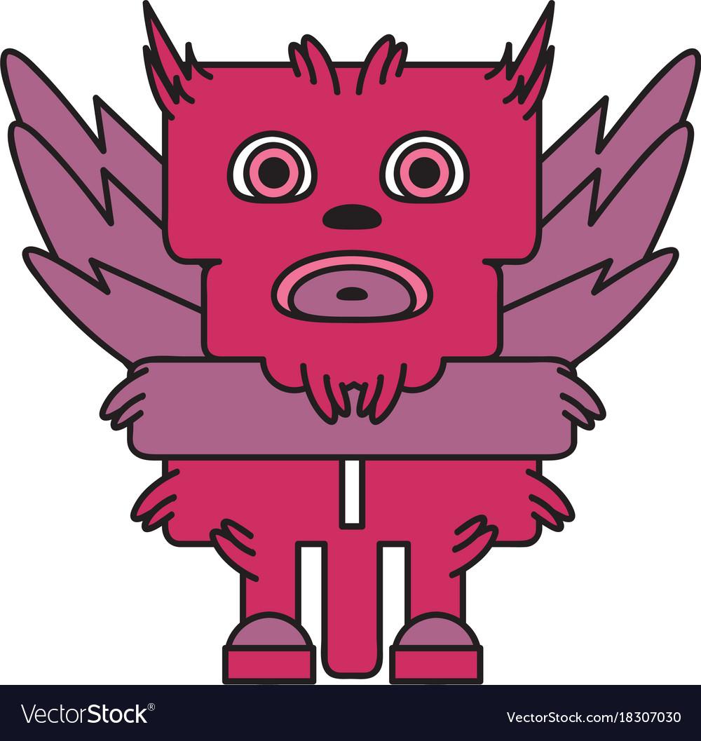 Monster character bird vector image