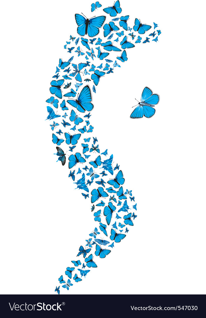 Swarm of flying blue butterflies making s form vec