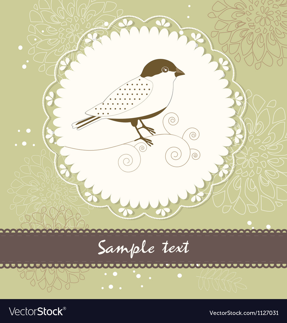 Floral greeting card with birds vector image