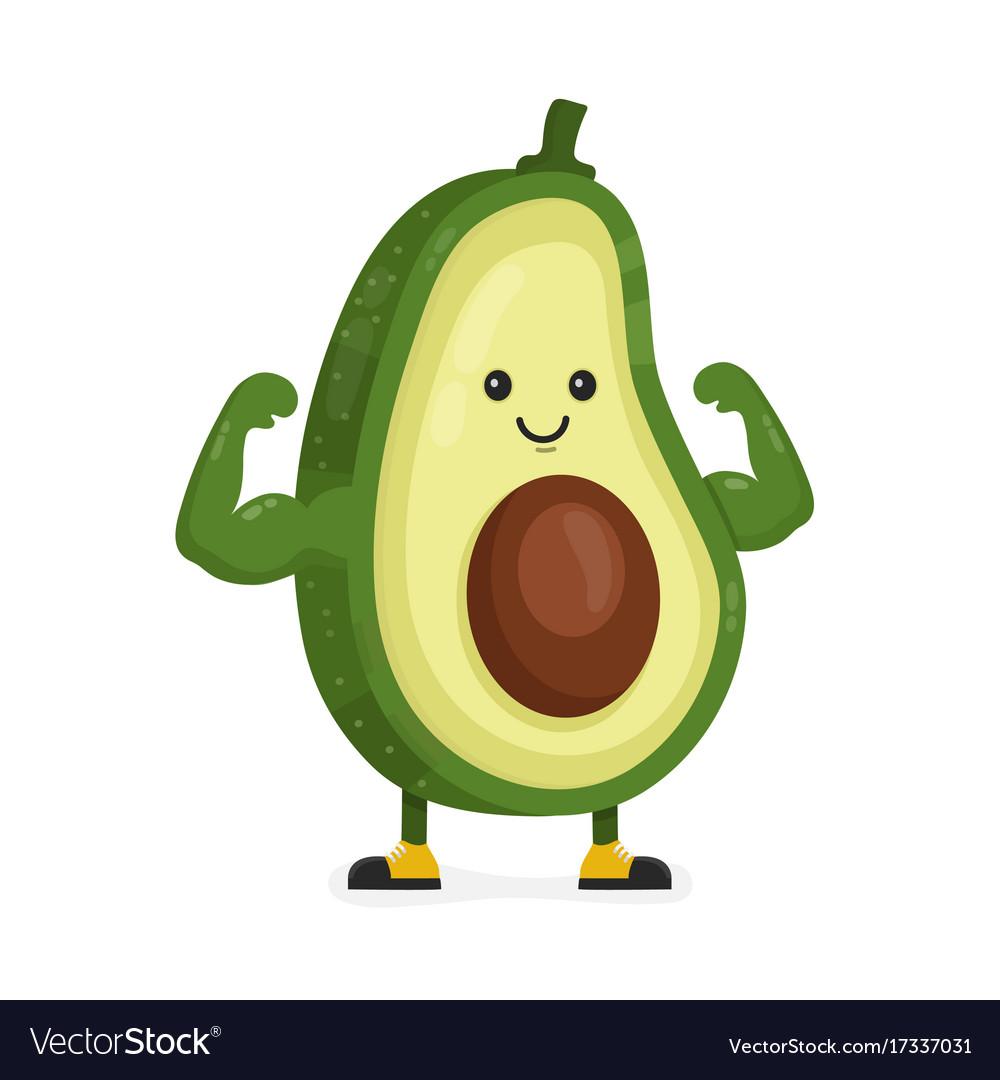 Cute Happy Strong Smiling Avocado Royalty Free Vector Image