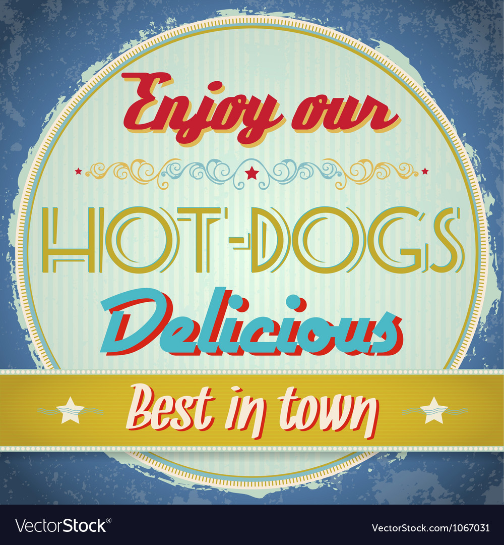 Vintage Hot Dogs Sign vector image