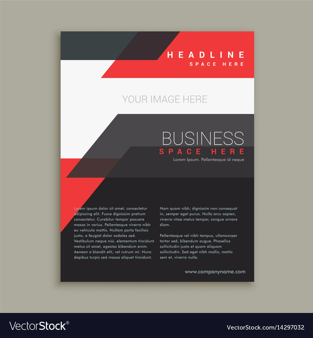 Abstract business style red black brochure vector image