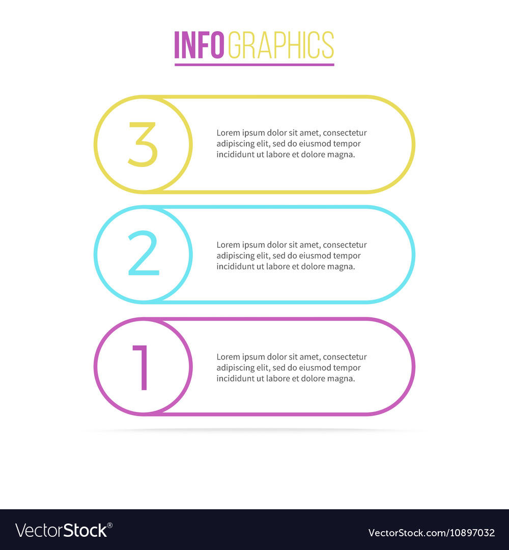 Business infographics List with 3 steps options vector image