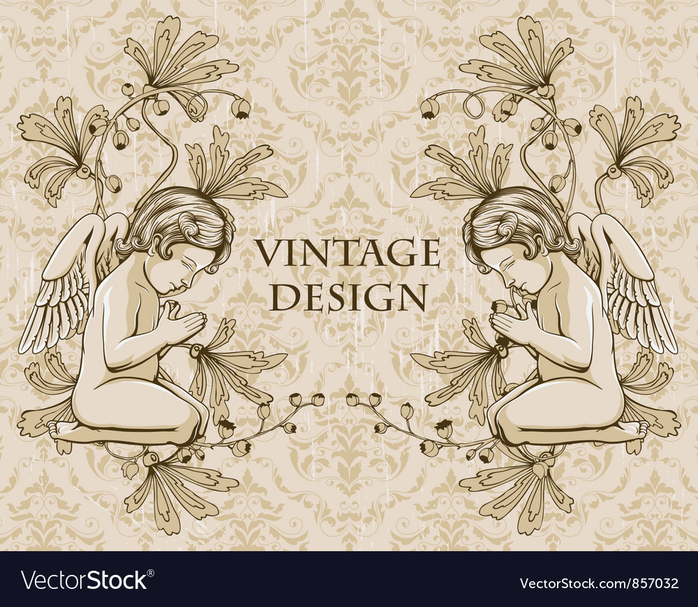 Grunge damask background with angels vector image