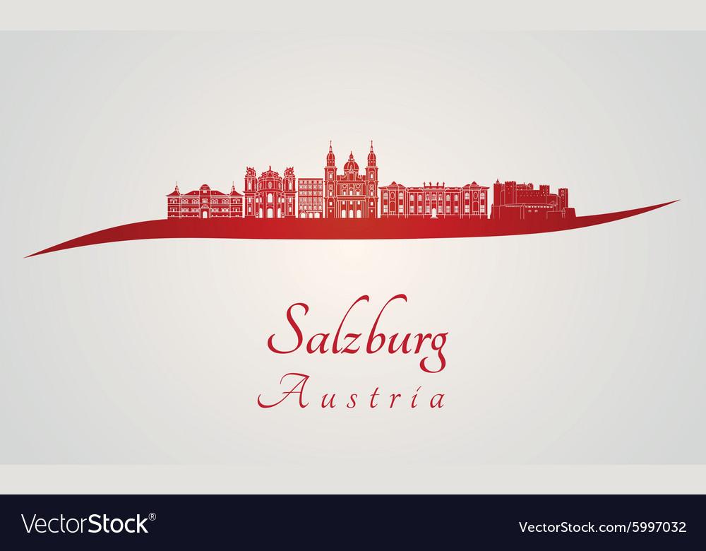Salzburg skyline in red vector image