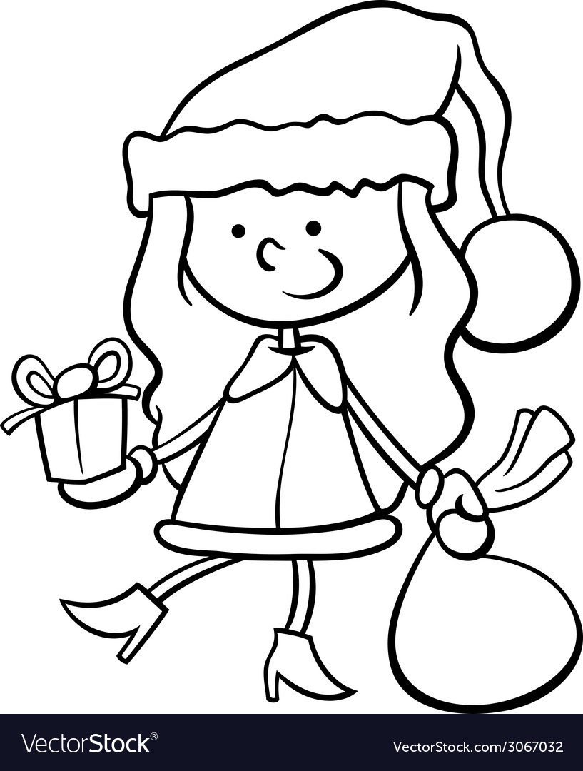 Santa Claus Kid Cartoon Coloring Page Vector Image