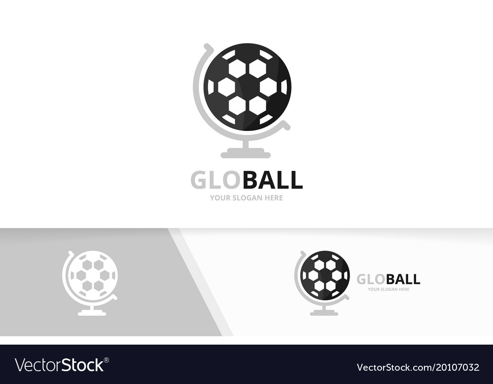 Soccer and globe logo combination ball vector image