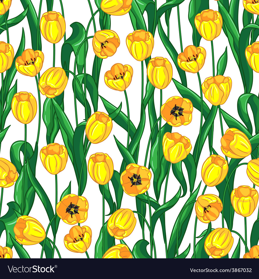 Seamless pattern with blooming red and yellow