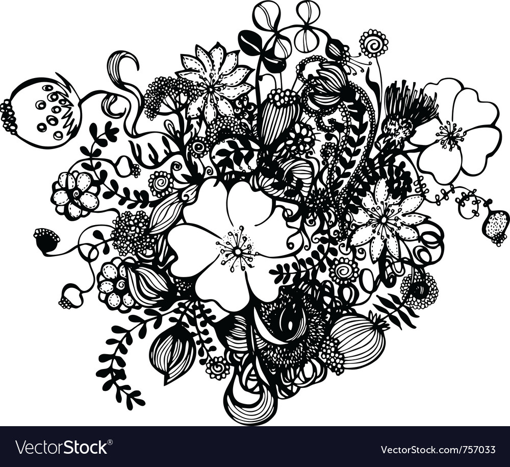 Black and white flowers vector image