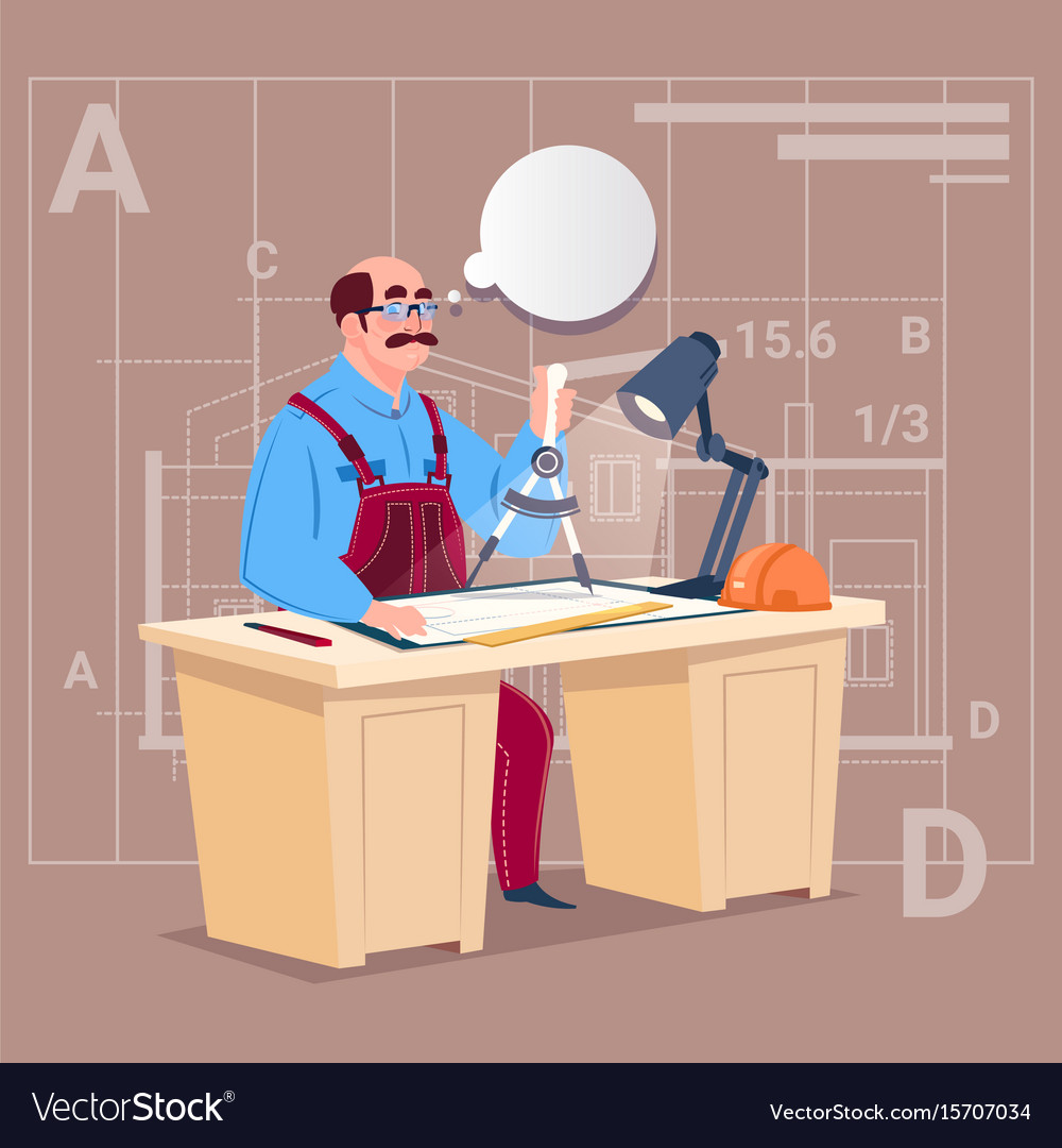 Cartoon builder sitting at desk working on vector image
