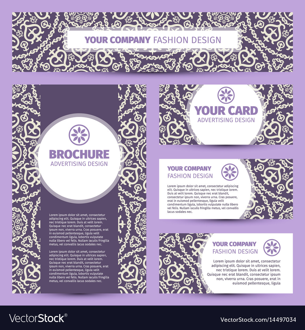 Corporate identity design with arabic pattern vector image