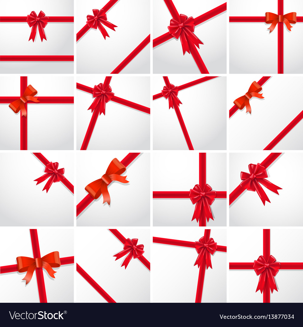 Gift ribbon bow collection set vector image