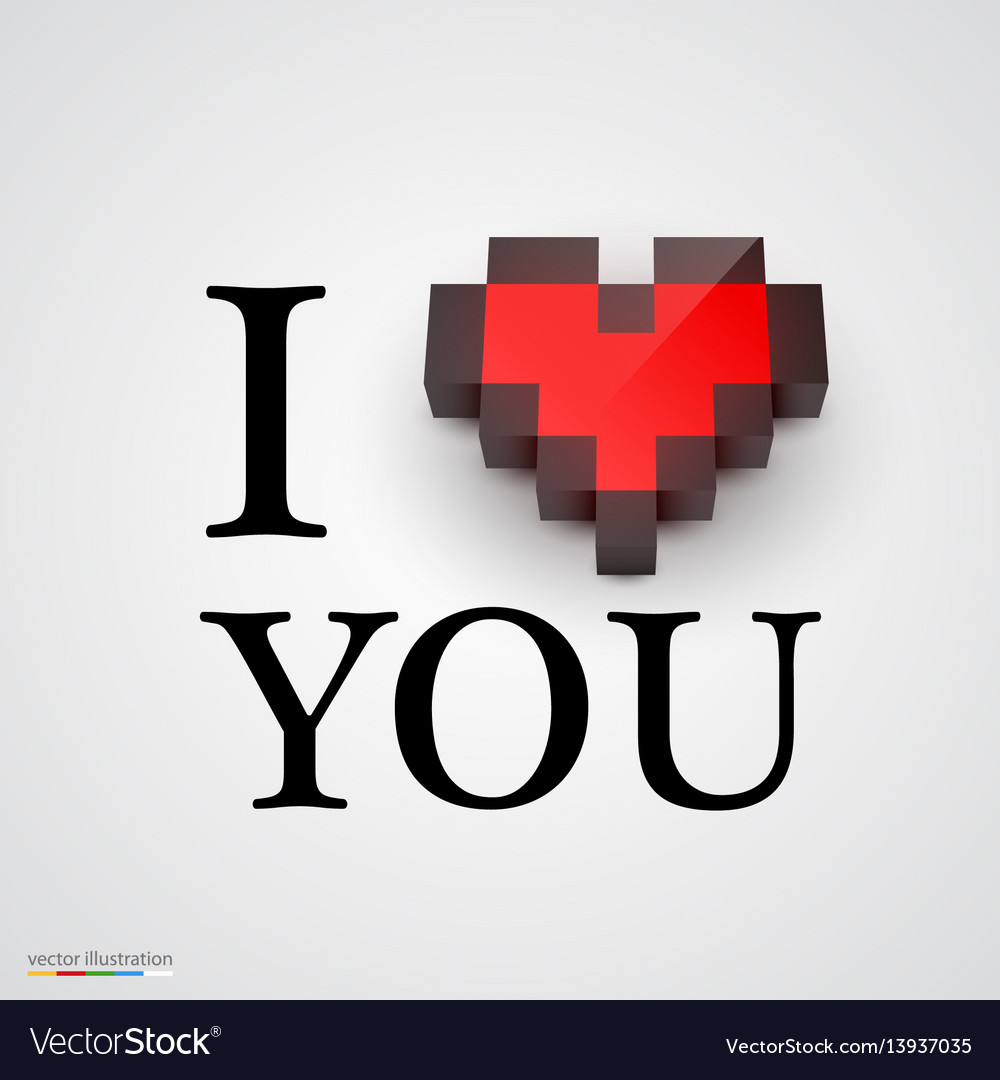 I love you with heart in pixel style vector image