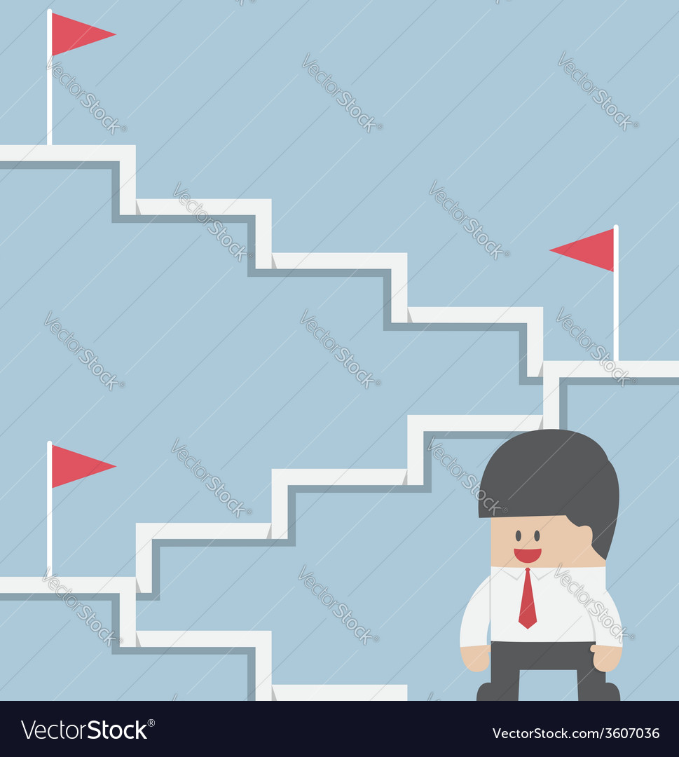 Businessman climbing on the stairway to target vector image