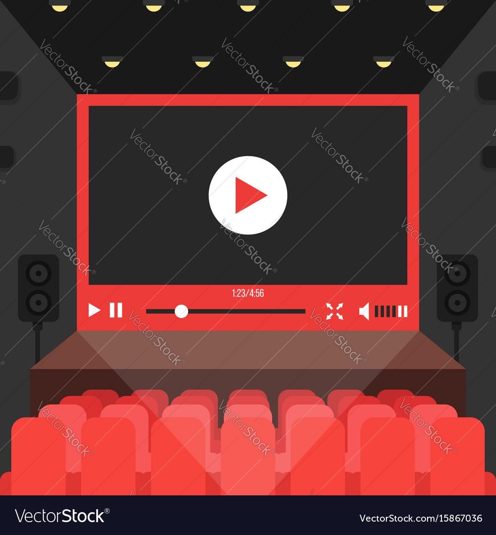 Online video in cinema theater vector image