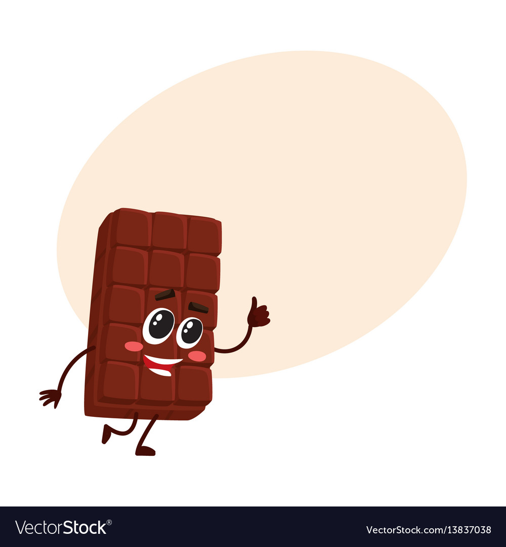 Cute chocolate bar character with funny face vector image