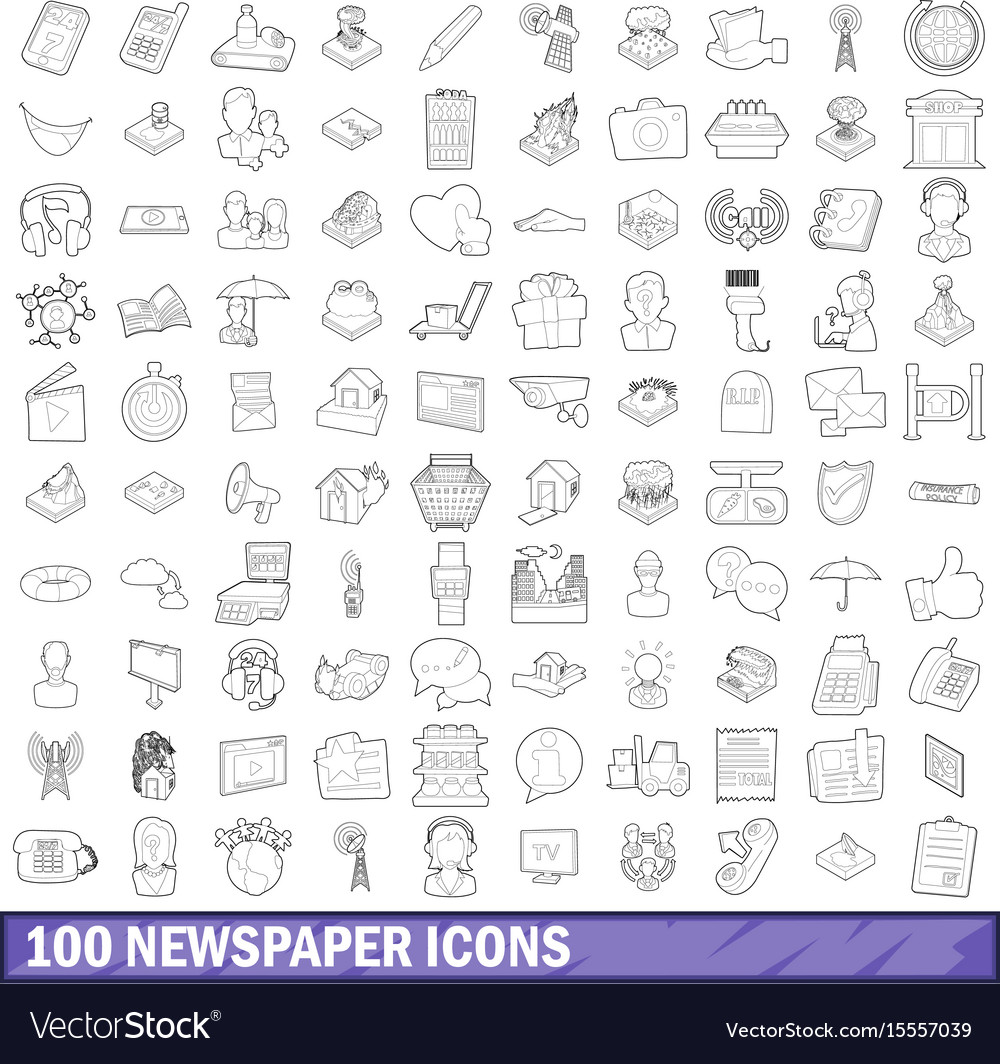 100 newspaper icons set outline style vector image