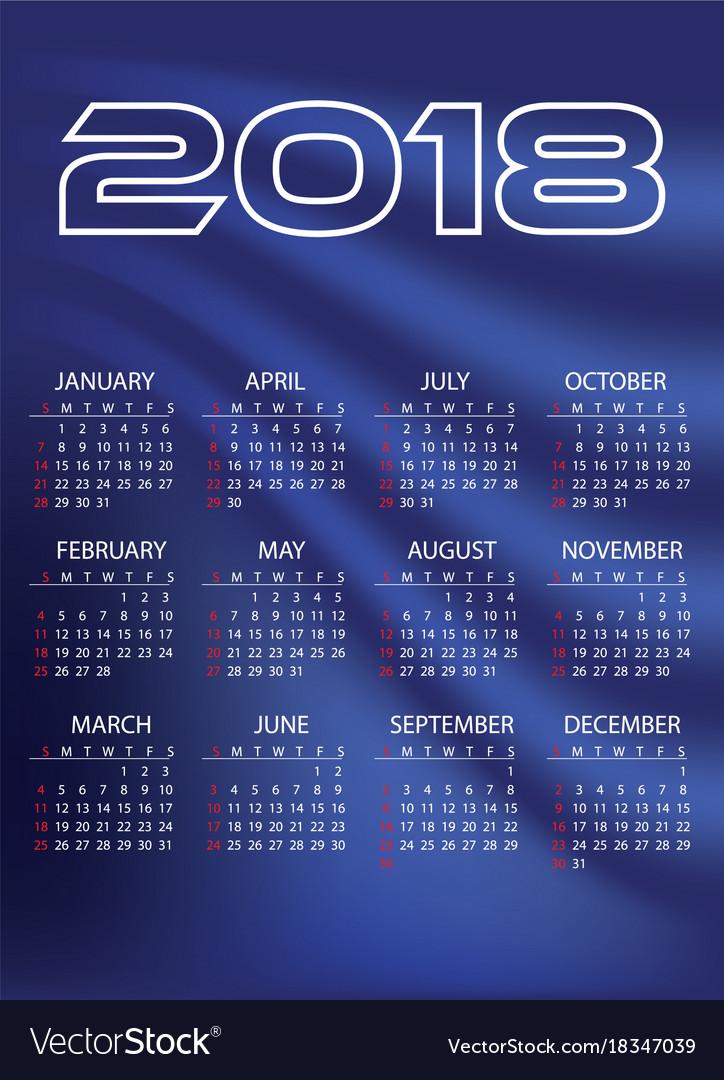 2018 simple business wall calendar blue color vector image