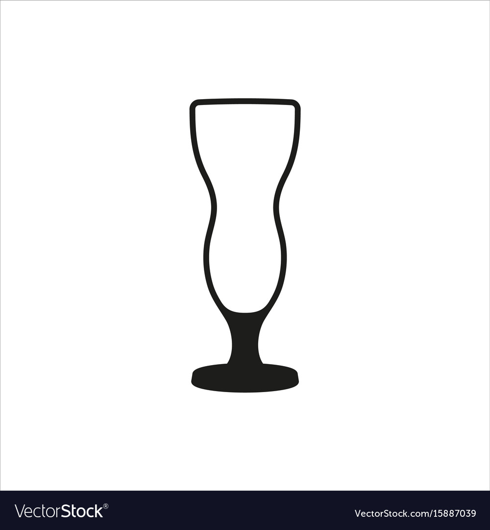 Cocktail glass icon in simple monochrome style vector image
