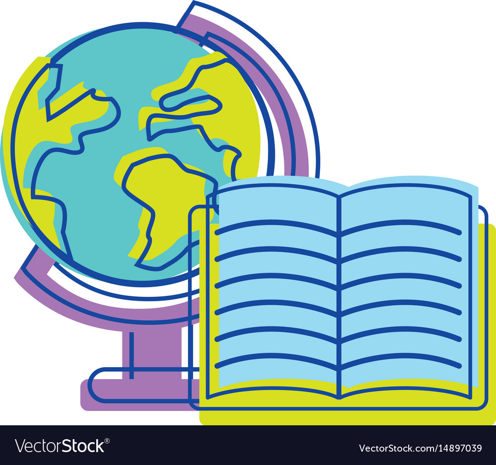 Earth planet desk with open notebook vector image
