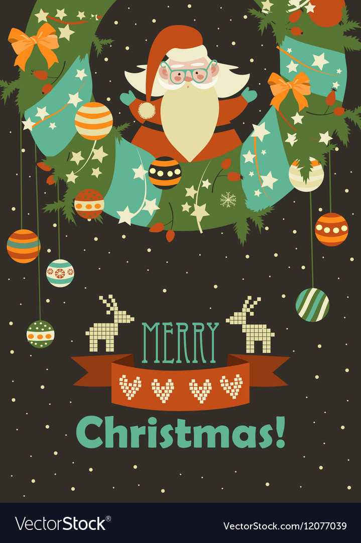 Santa Claus celebrating Christmas vector image