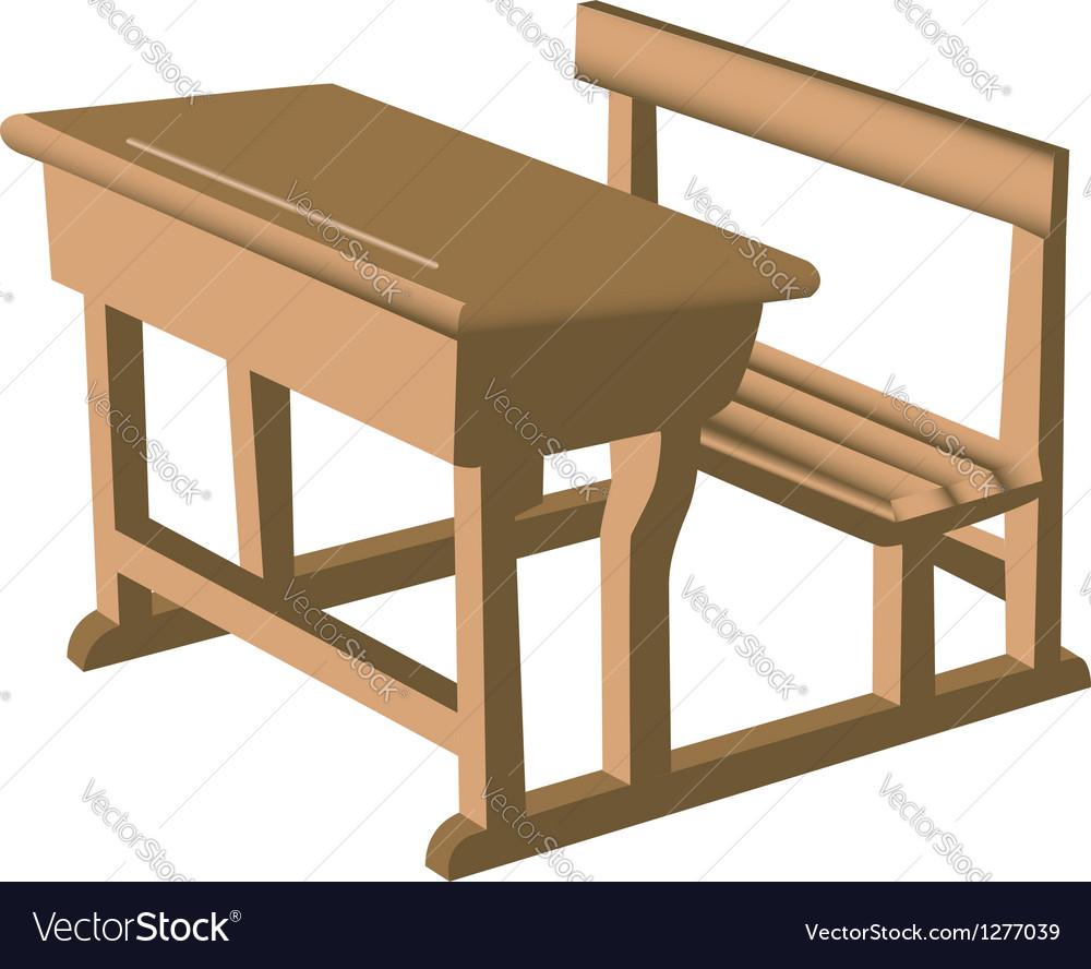 Wooden School Desk Vector Image