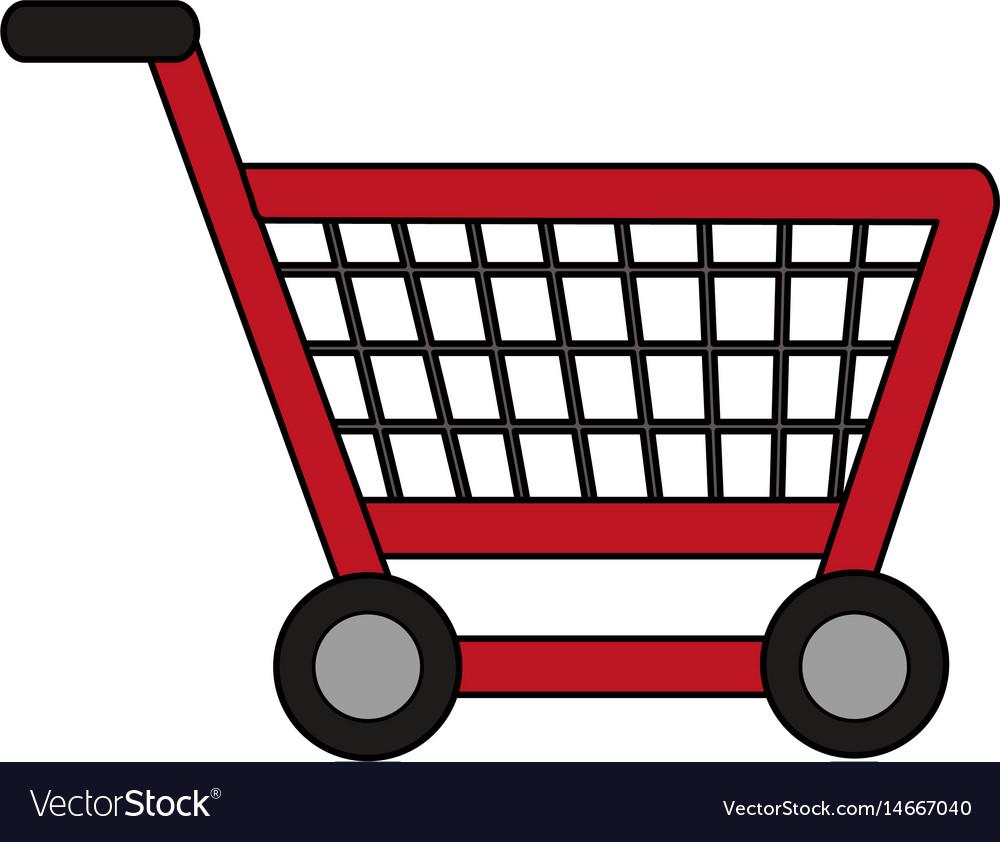 color image cartoon shopping cart with wheels vector image