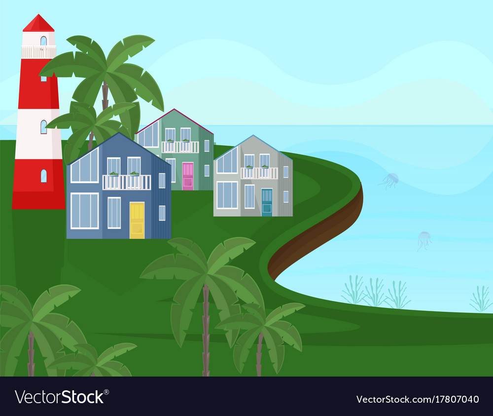 Sea coast view seaside with palm trees vector image