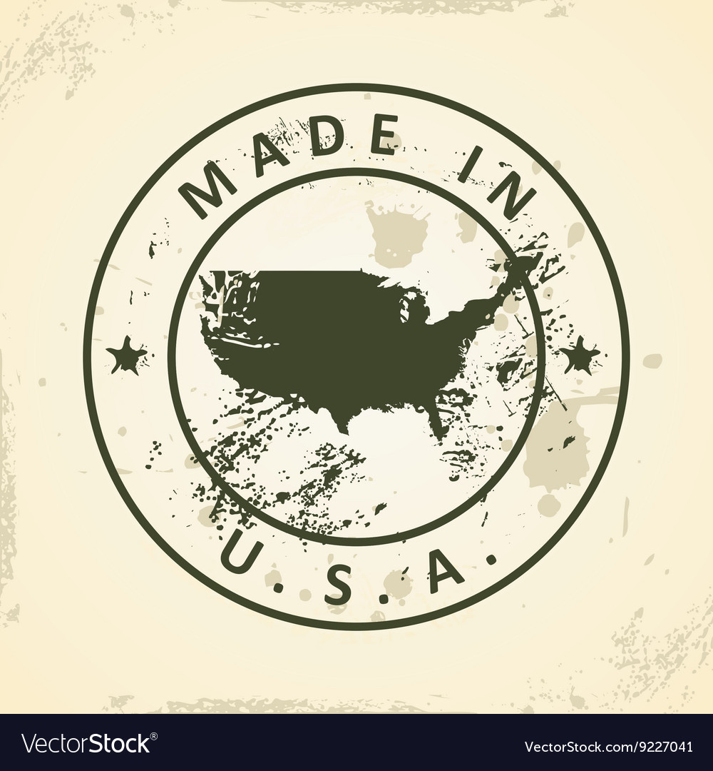 Stamp with map of United States of America vector image