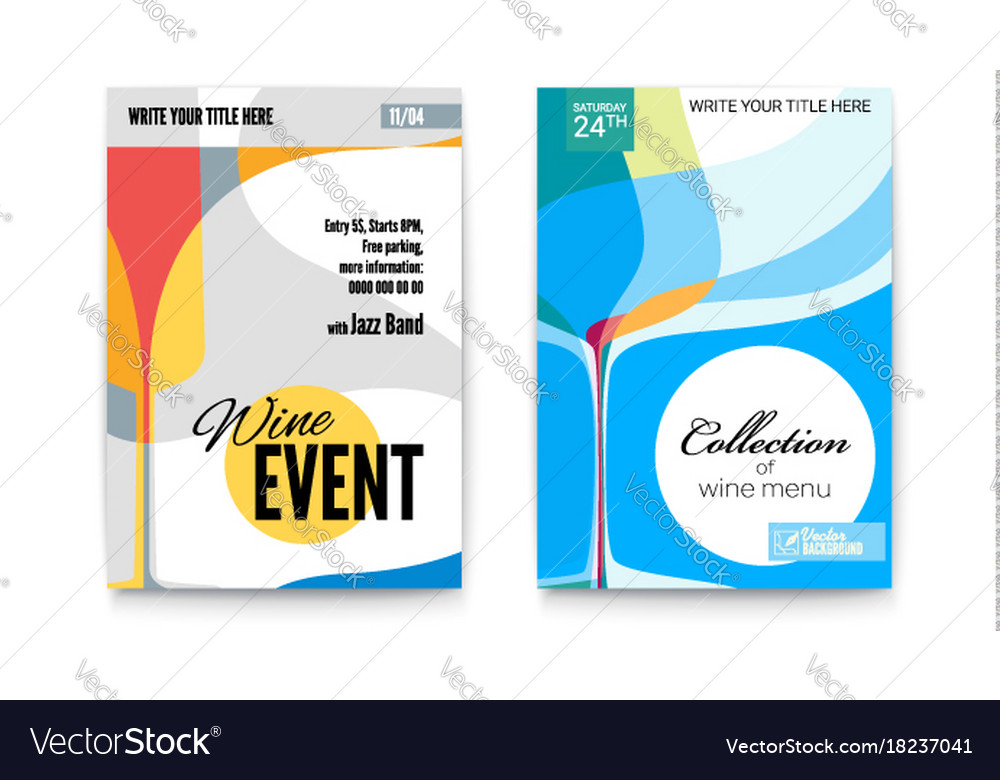 Template for cocktail party wine festival event vector image