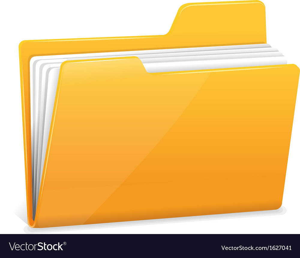 Yellow file folder with documents vector image