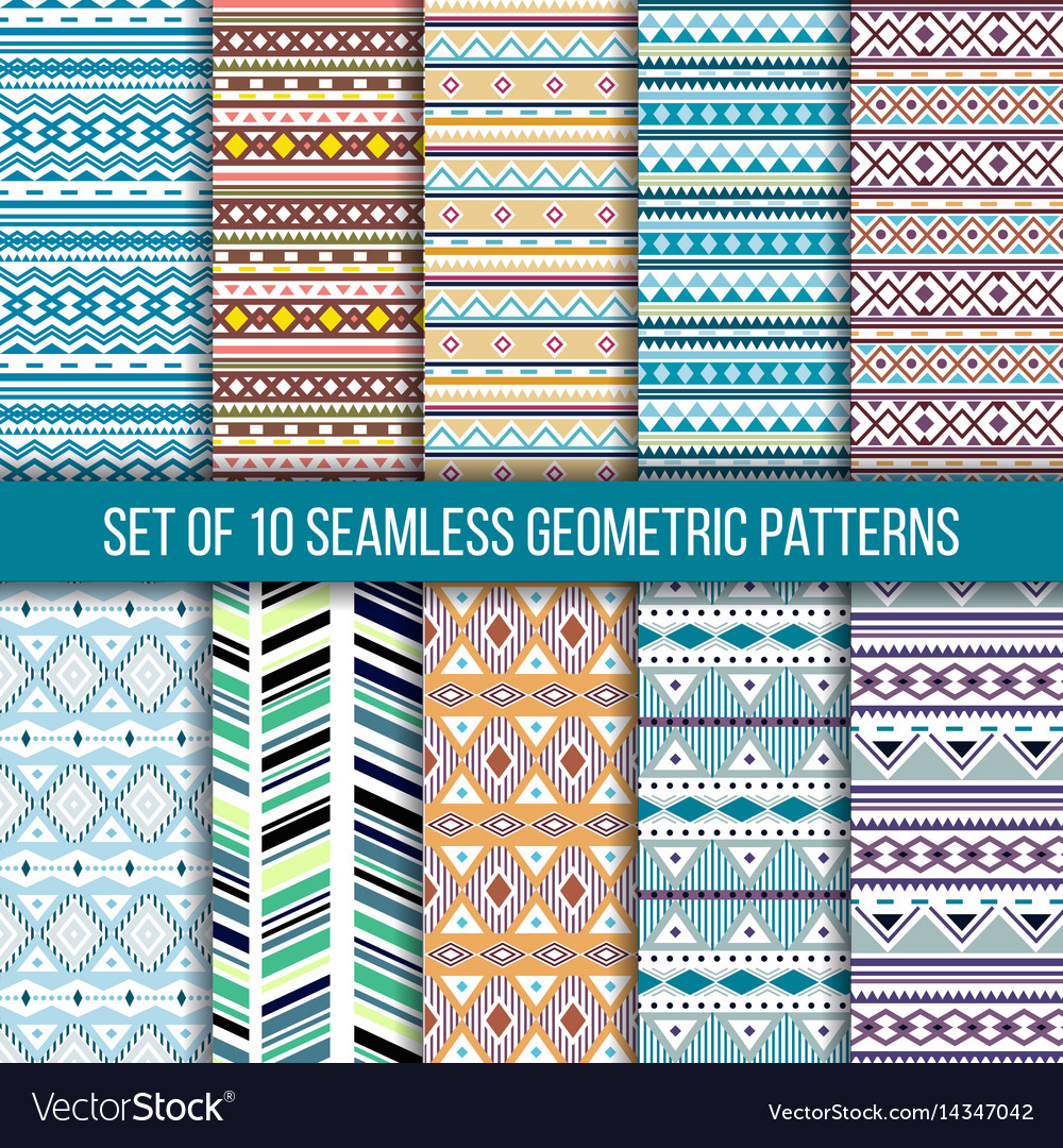 Set of 10 seamless geometric patterns vector image