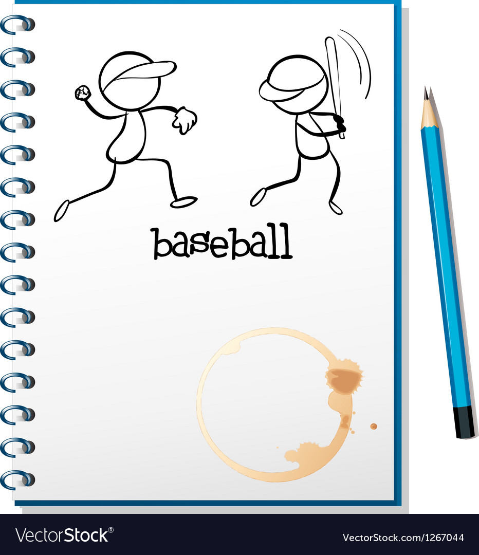 A notebook with a sketch of the baseball players vector image