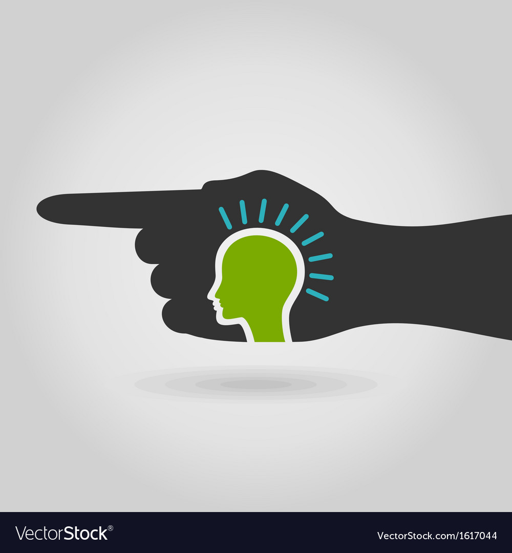 Head in hand vector image