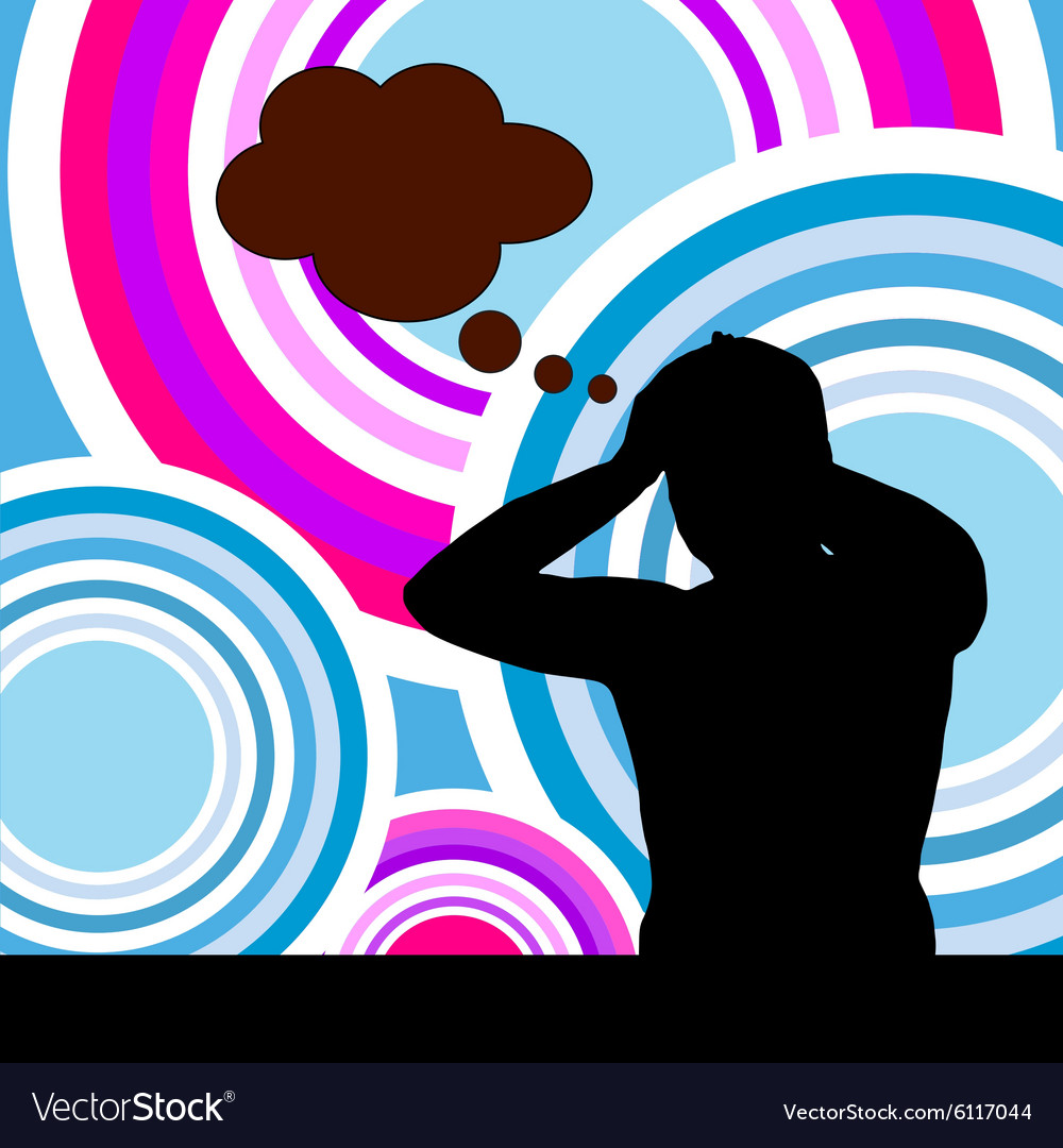 Man on color background vector image