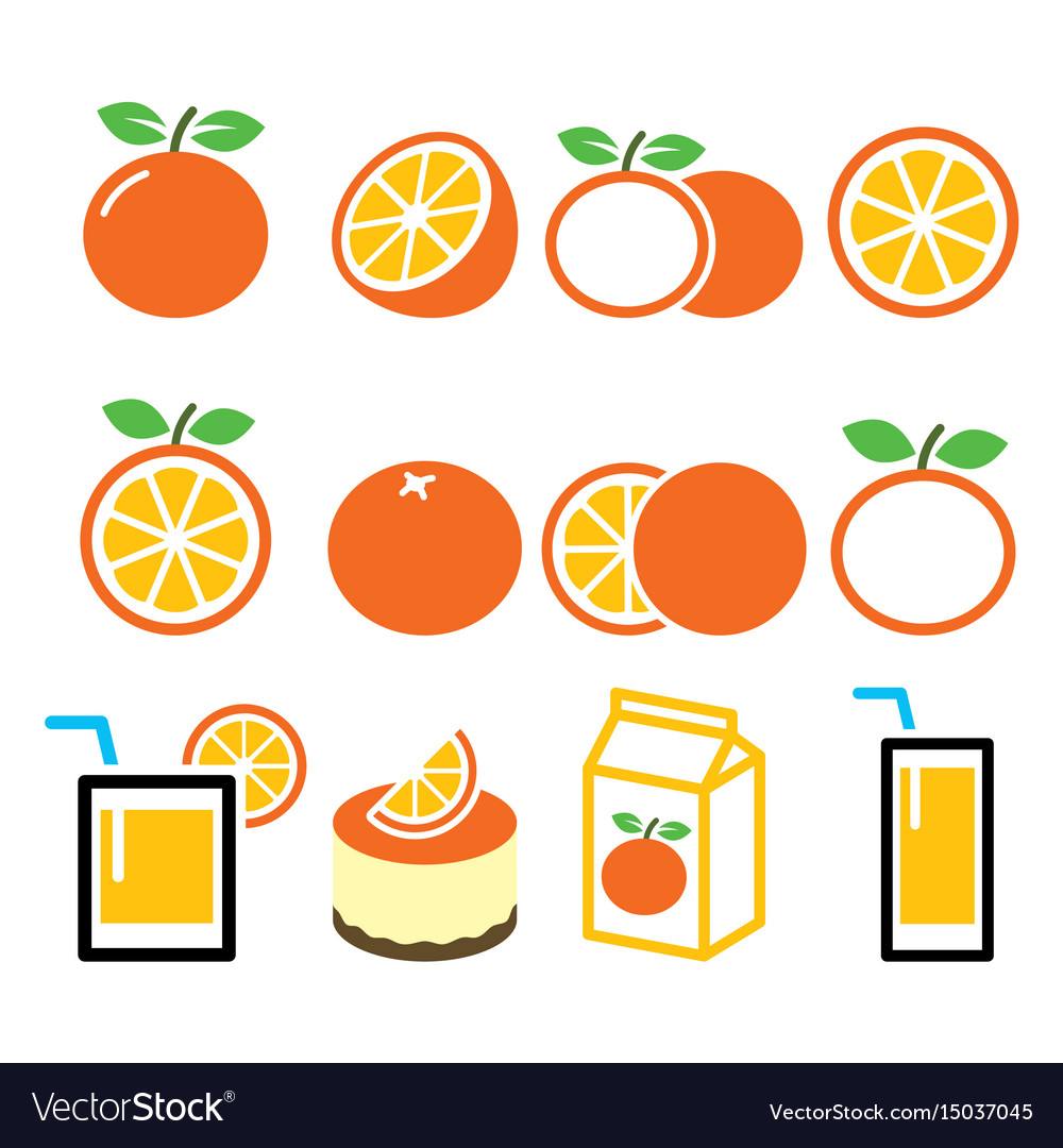 Orange icons set - food nature concept design vector image