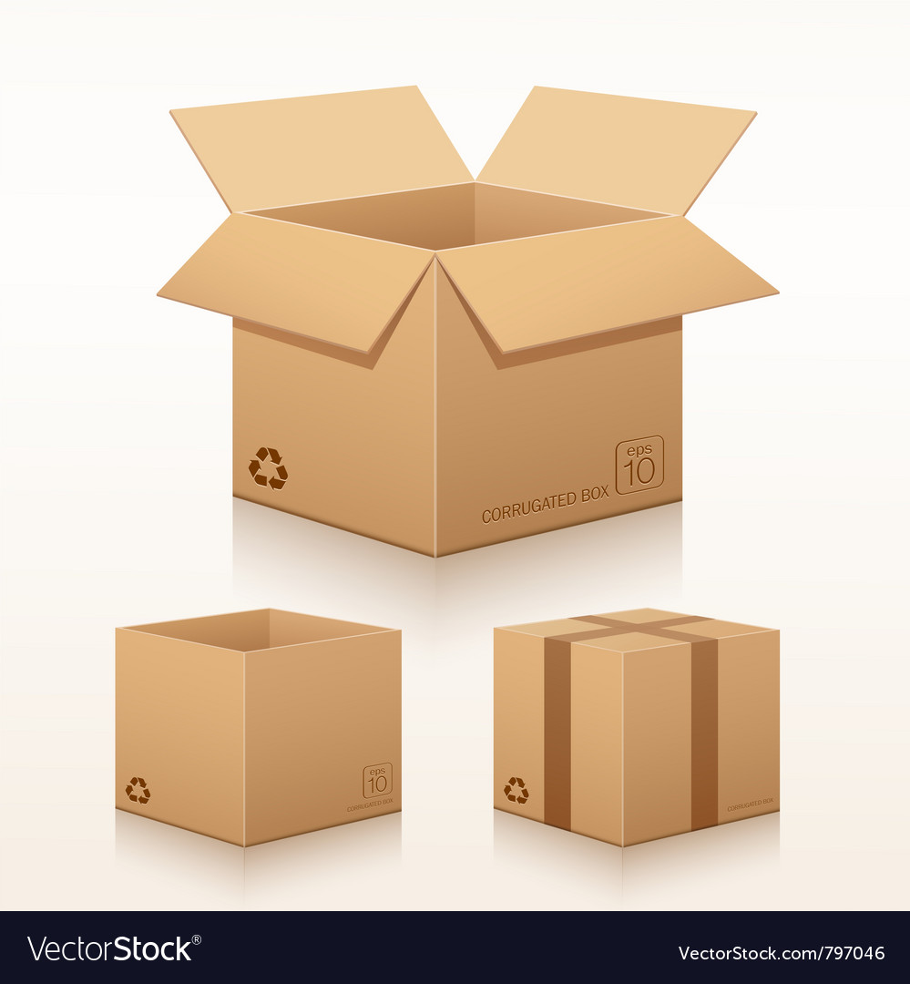 Collection corrugated box recycle vector image