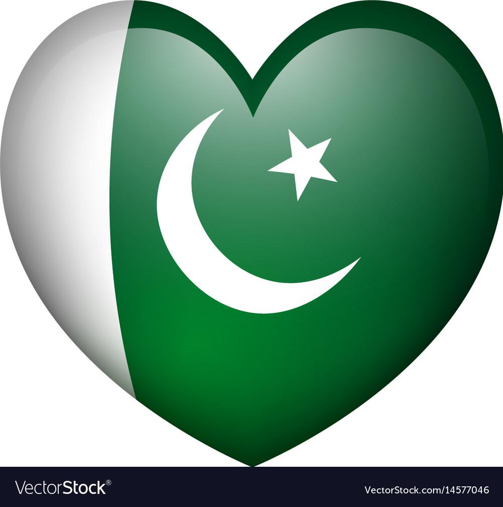 Pakistan flag in heart shape vector image