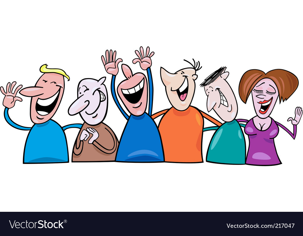 Cartoon laughing people vector image