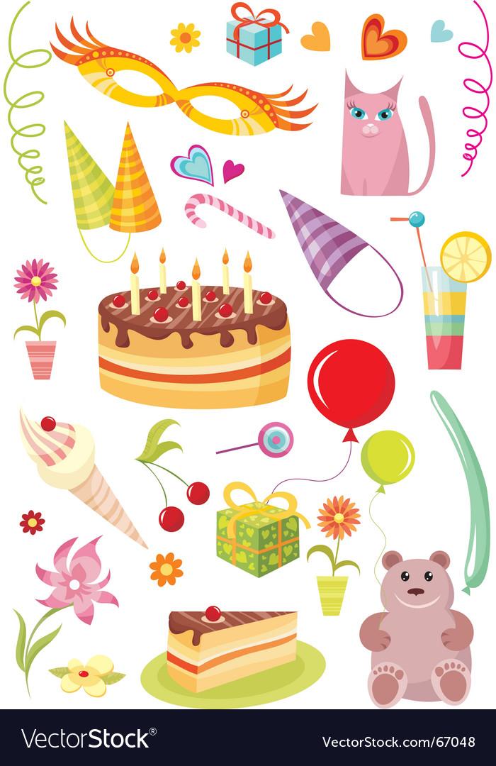 Birthday design elements vector image