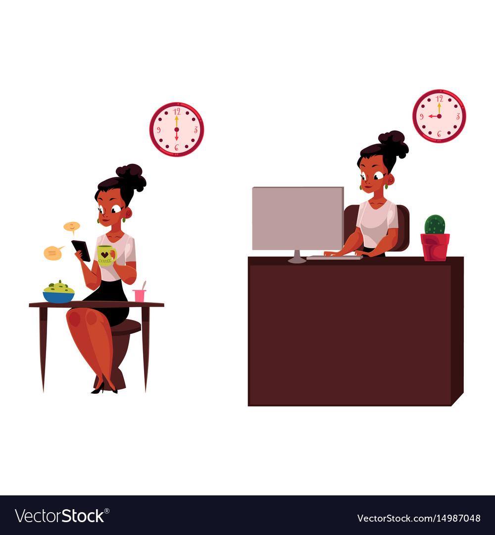 Black african businesswoman having breakfast vector image