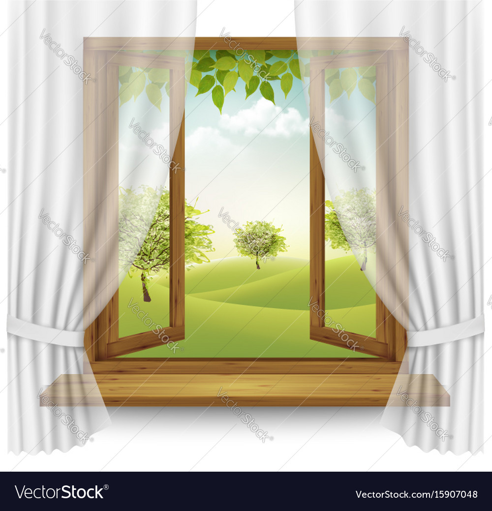 nature summer background with wooden window frame vector image - Wooden Window Frame