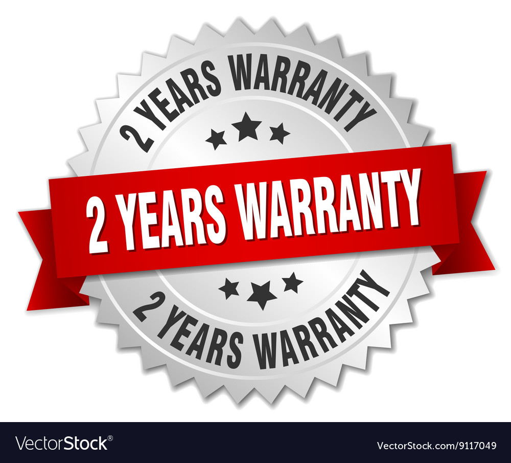 2 years warranty 3d silver badge with red ribbon vector image