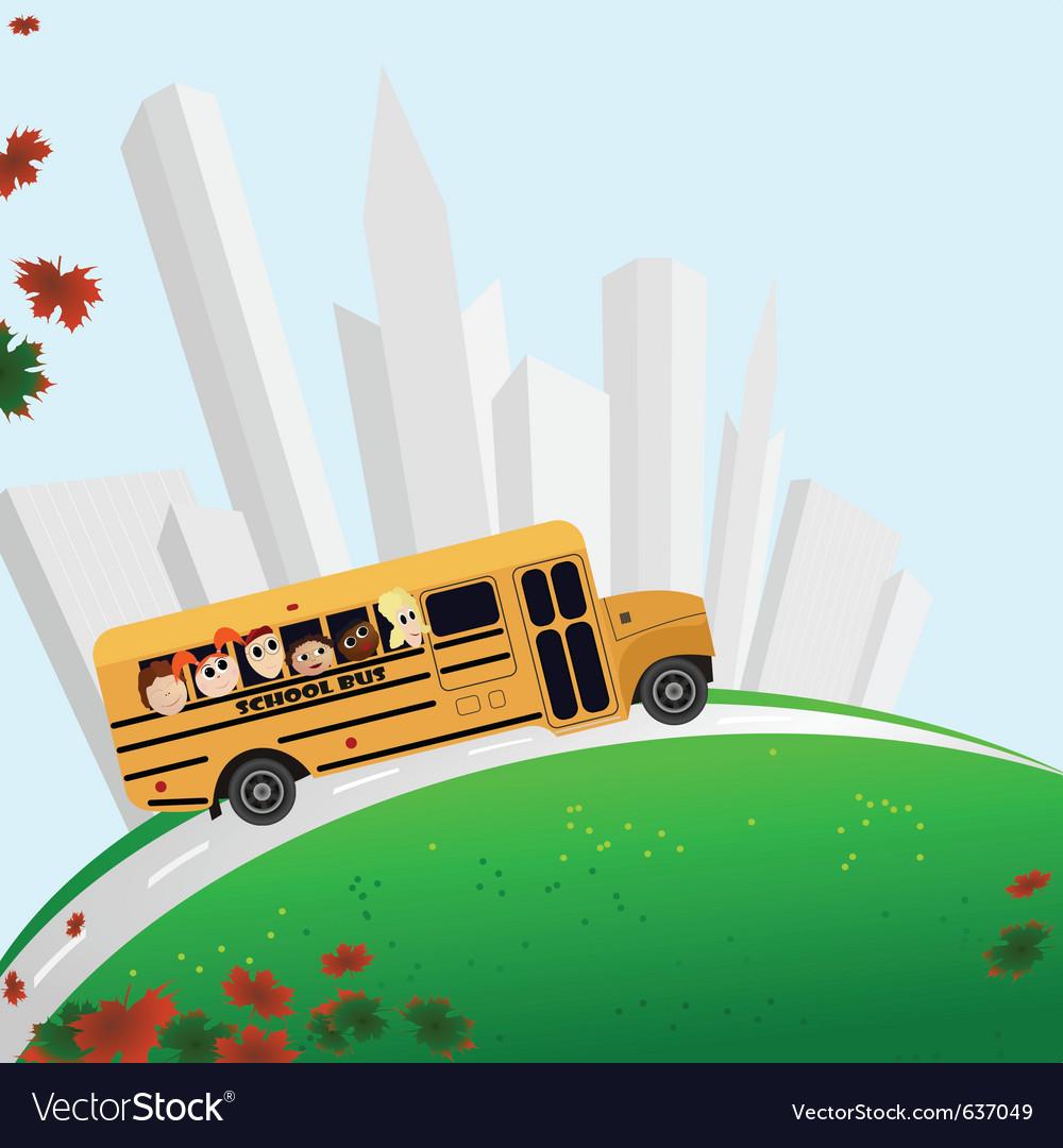 School bus buildings vector image