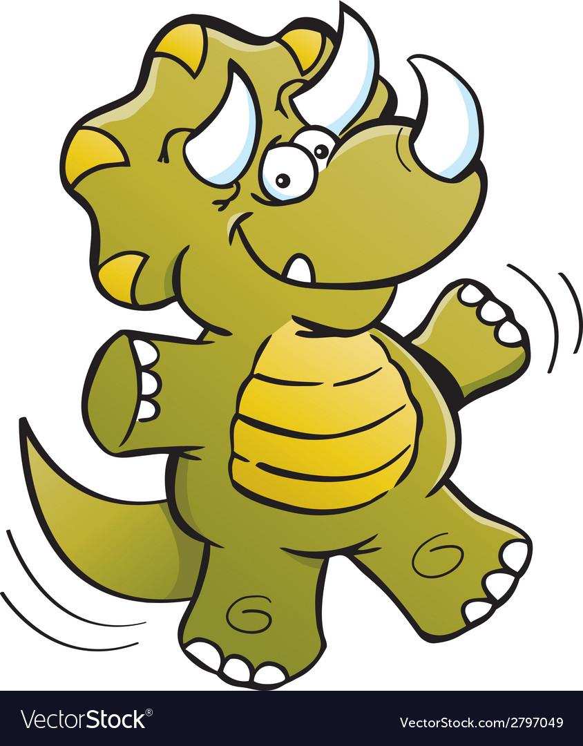 Cartoon Jumping Triceratops vector image