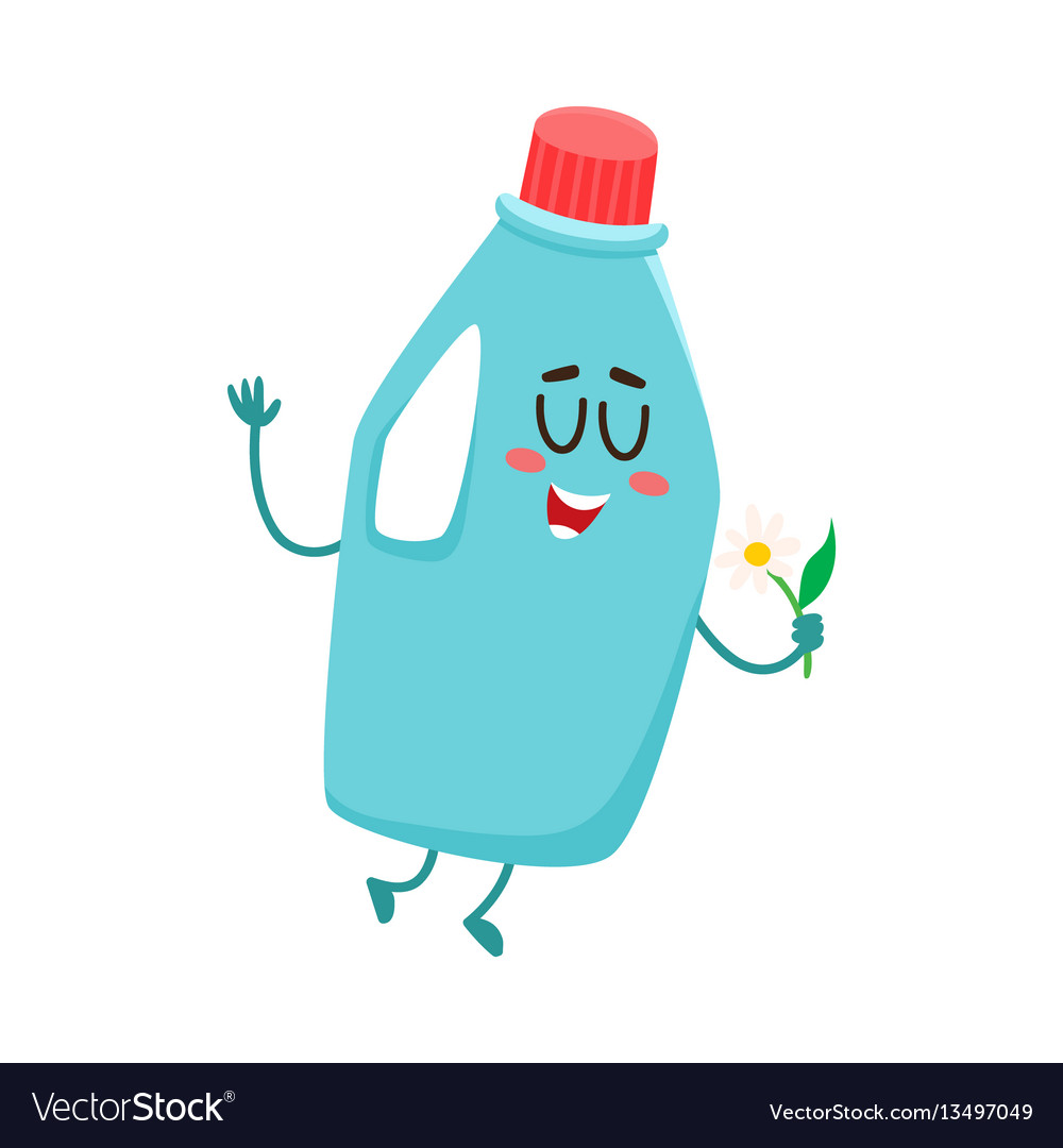 Funny detergent bottle character with smiling vector image