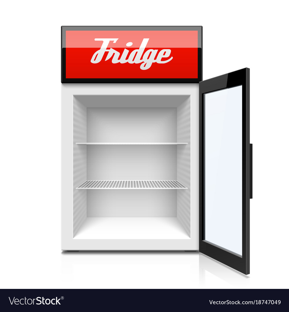 glass door mini fridge royalty free vector