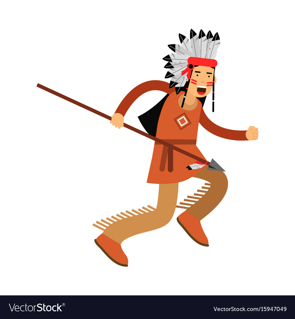 Native american indian in traditional costume and vector image