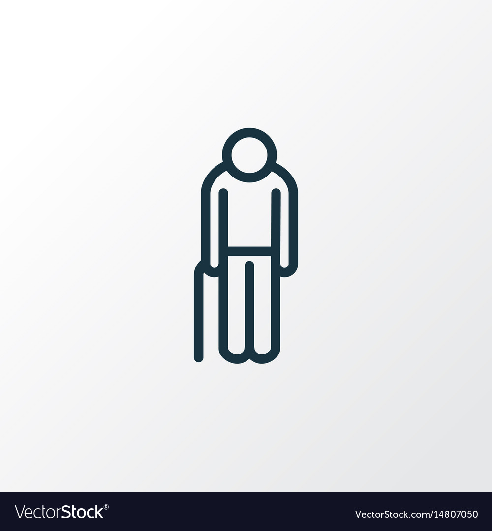 Oldster outline symbol premium quality isolated vector image