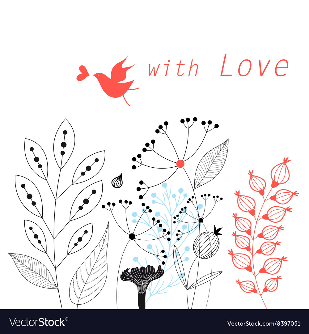 Graphic floral card vector image